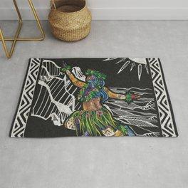 Polynesian Hula Dancer Tapa Print Rug