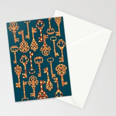 Yellow and Red Skeleton Key Pattern Stationery Cards