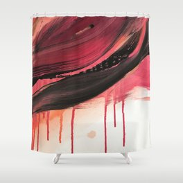 Entangled [3]: a vibrant, colorful abstract mixed-media piece in reds, pinks, black and white Shower Curtain
