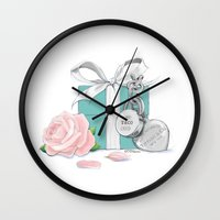 tiffany Wall Clocks featuring Tiffany Rose by Pink Geeks
