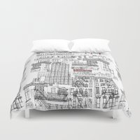buildings Duvet Covers featuring Ny buildings by dezignation