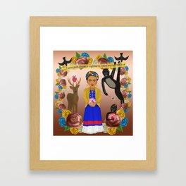 Frida Kahlo Tribute Copper Framed Art Print