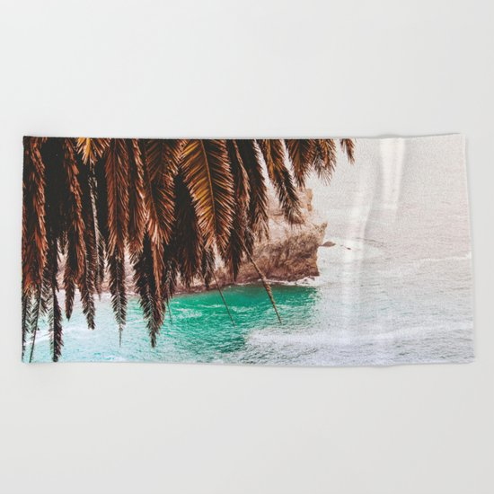 vintage ocean #palm tree Beach Towel