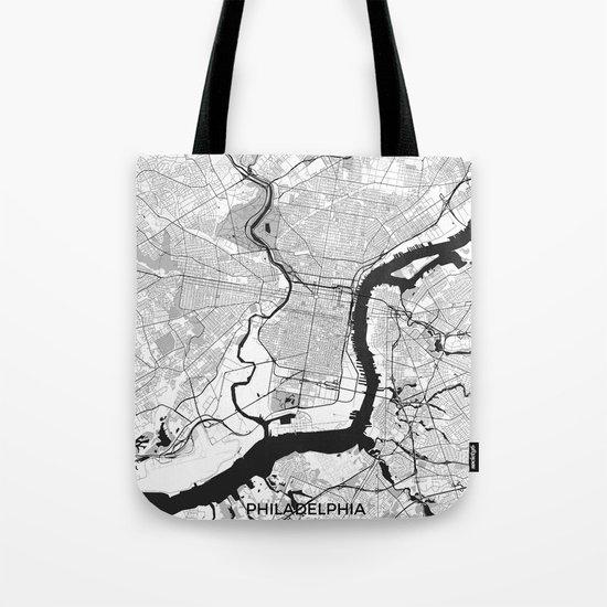 Philadelphia Map Gray Tote Bag