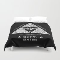 hyrule Duvet Covers featuring Legend of Zelda Kingdom of Hyrule Crest Letterpress Vector Art by Barrett Biggers