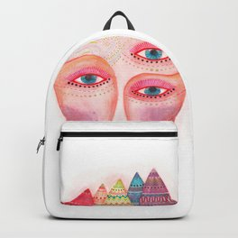 girl with the most beautiful eyes mask portrait Backpack