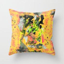 THRASHED! yellow Throw Pillow