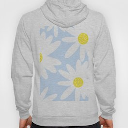Beautiful White Retro Daisy Flowers Pastel Blue Background #decor #society6 #buyart Hoody