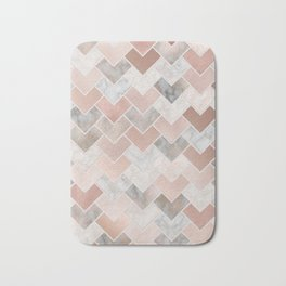 Rose Gold and Marble Geometric Tiles Bath Mat