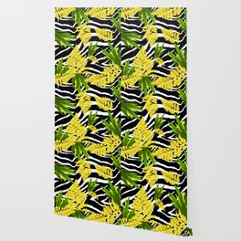 ZEBRA PALMS AND FERNS YELLOW AND GREEN Wallpaper