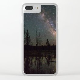 Milky Way Galaxy Above The Pond Clear iPhone Case