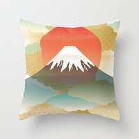 japan Throw Pillows featuring JAPAN by rie_lalala