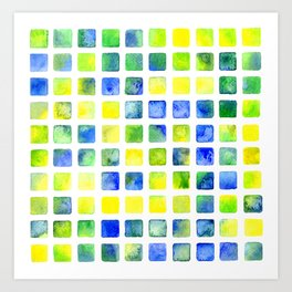 abstract ornament watercolor squares Art Print