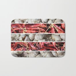 garlic chili stripes Bath Mat