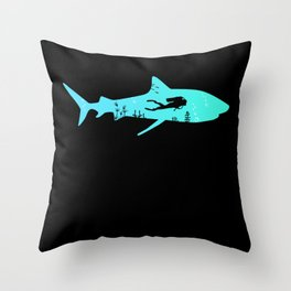 Diving Shark Dive Underwater Diver Gift Throw Pillow