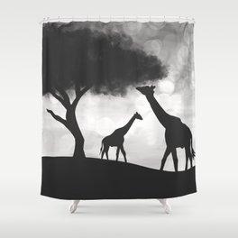 Anti-Sunset Giraffe Silhouette Shower Curtain