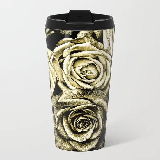 Vintage Gold Roses Metal Travel Mug