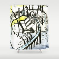 industrial Shower Curtains featuring Industrial Landscape by seb mcnulty