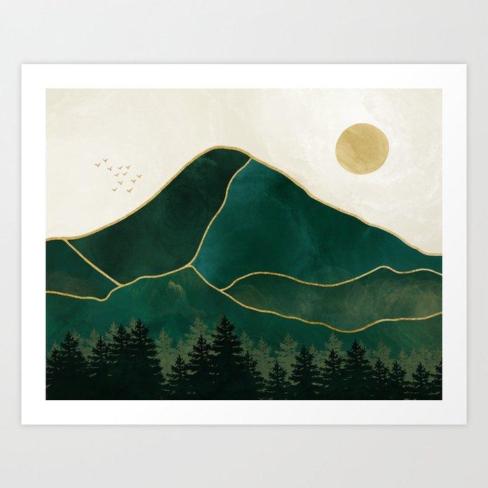 Mount Hood // Emerald Abstract Dream Oregon Green Gold Yellow Mountain Forest Wilderness Landscape Art Print