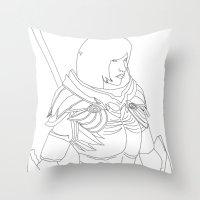 skyrim Throw Pillows featuring Skyrim Armor outline by J.A.C