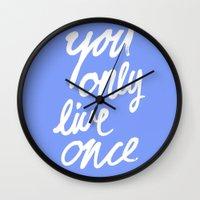 yolo Wall Clocks featuring YOLO by herejustbc;