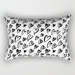 Hearts. Brush-lettered seamless pattern Rectangular Pillow