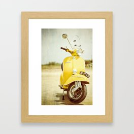 Yellow Scooter #vespaprint #italyphoto #travel #modstyle #yellowmustard Framed Art Print