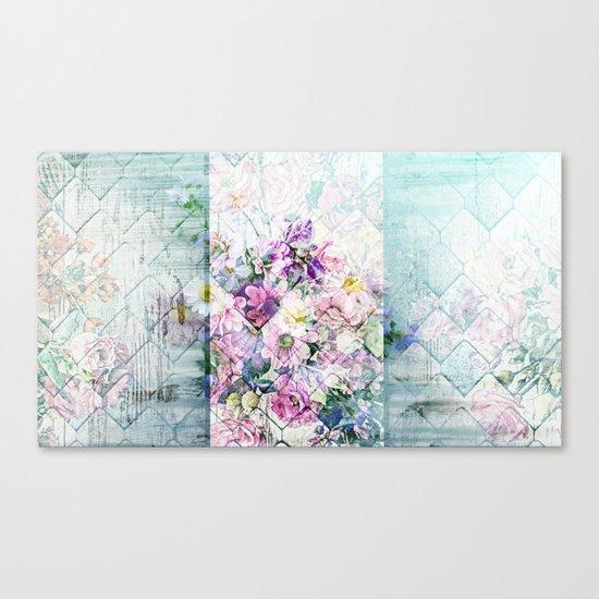 Pastel Daisies Quilt Canvas Print