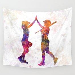 women playing softball 01 Wall Tapestry