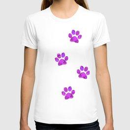 Purple Paw Prints Rose T-shirt