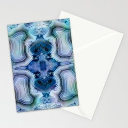 Abstract Kaleidoscope Blue Mineral Crystal Texture Stationery Cards