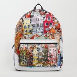 Gdansk Poland Watercolor Backpack