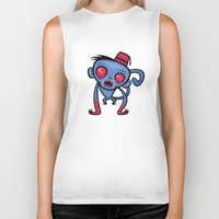 fez Biker Tanks featuring Zombie Monkey by John Schwegel