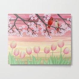 cardinals & tulips in spring Metal Print