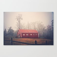 Little Red Barn in the Fog Canvas Print