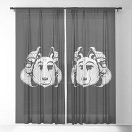 Bear Inside Black And White Sheer Curtain