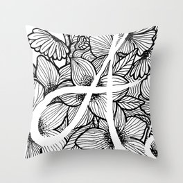 "Letter ""A"" Floral Design Throw Pillow"