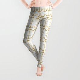 Gold Glitter Anchor Leggings