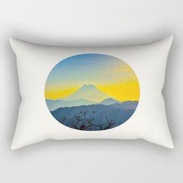 Mid Century Modern Round Circle Photo Yellow Blue Mount Fuji Sunset Watercolor Effect Landscape Rectangular Pillow