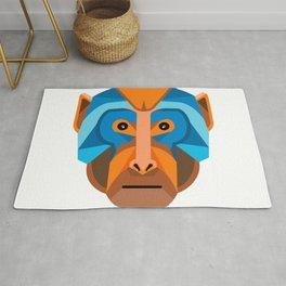 Rhesus Macaque Head Flat Icon Rug