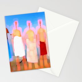five naked men with bath towels Stationery Cards