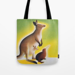 Kangaroo and Kiwi Bird Vintage Art Tote Bag