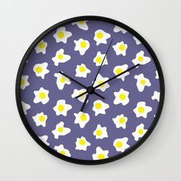 Eggs Over Blue Wall Clock