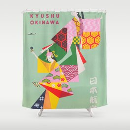 Japan Vintage Travel Poster, Colorful Kimonos Shower Curtain