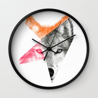 eric fan Wall Clocks featuring Wild by Eric Fan & Garima Dhawan by Garima Dhawan