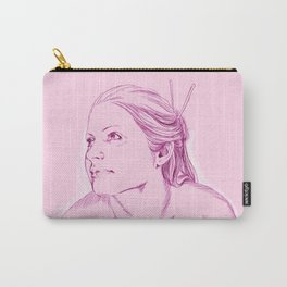 chica rosada sentada Carry-All Pouch