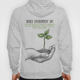 Realistic sketch hand with a plant background Hoody