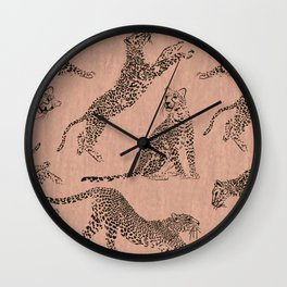 peach leopard pattern Wall Clock