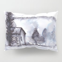 Little Farm Watercolor with Trees and Mountain Pillow Sham