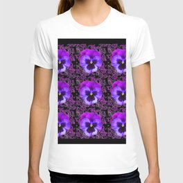 PURPLE PANSY FLOWERS ON BLACK COLOR T-shirt